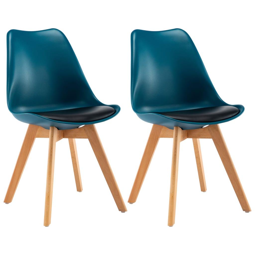 vidaXL Καρέκλες Τραπεζαρίας 2 τεμ. Τιρκουάζ και Μαύρο
