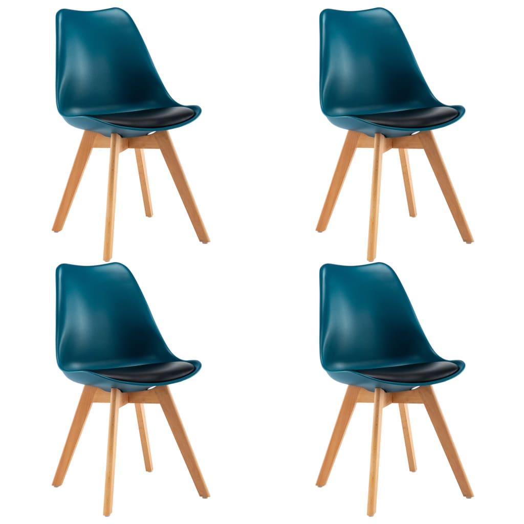 vidaXL Καρέκλες Τραπεζαρίας 4 τεμ. Τιρκουάζ και Μαύρο