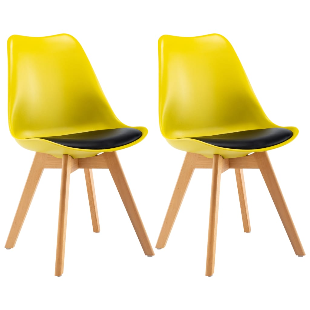 vidaXL Καρέκλες Τραπεζαρίας 2 τεμ. Κίτρινο και Μαύρο