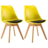 vidaXL Valgomojo kėdės, 2 vnt., geltonos ir juodos spalvos