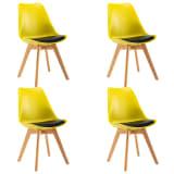 vidaXL Valgomojo kėdės, 4 vnt., geltonos ir juodos spalvos