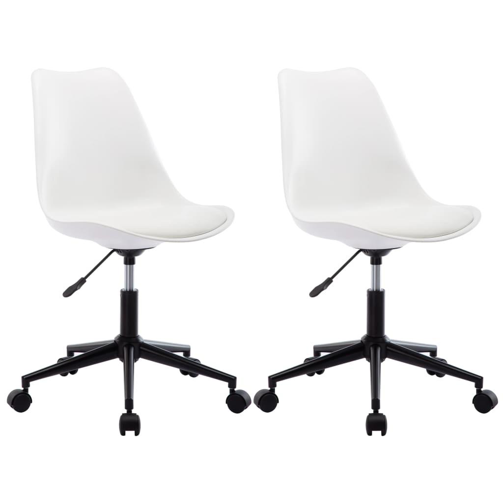 vidaXL Καρέκλες Τραπεζαρίας Περιστρεφόμενες 2 τεμ. Λευκές Δερματίνη