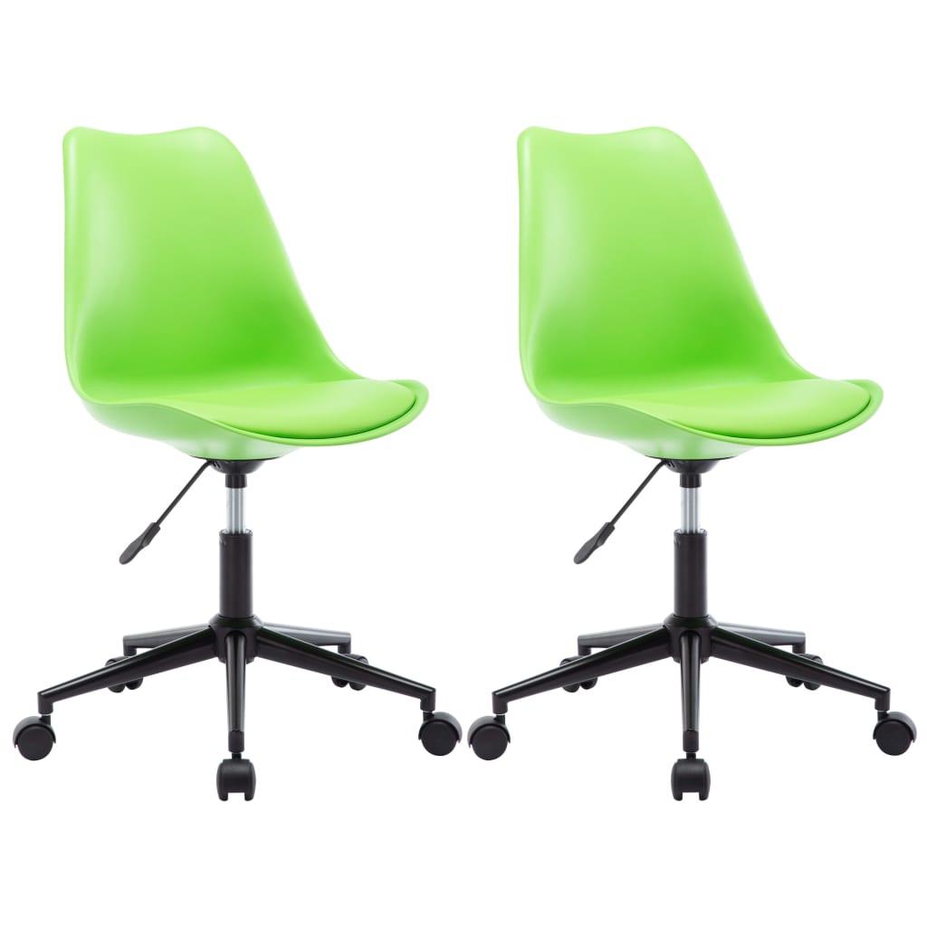 vidaXL drejelige spisebordsstole 2 stk. kunstlæder grøn