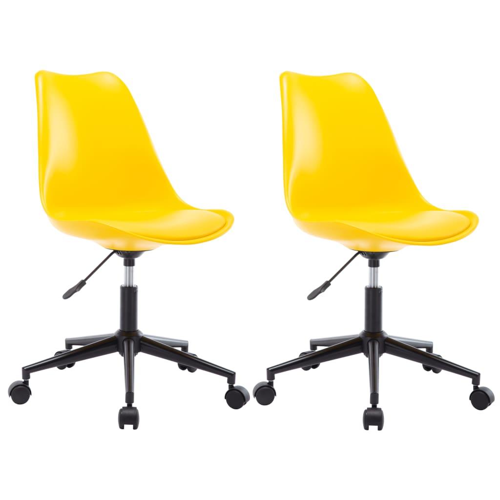 vidaXL Καρέκλες Τραπεζαρίας Περιστρεφόμενες 2 τεμ. Κίτρινες Δερματίνη