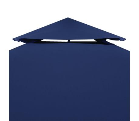 vidaXL Toile supérieure de belvédère 2 niveaux 310 g/m² 4x3 m Bleu[3/5]