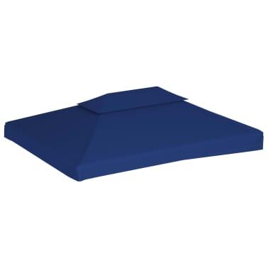 vidaXL Toile supérieure de belvédère 2 niveaux 310 g/m² 4x3 m Bleu[2/5]