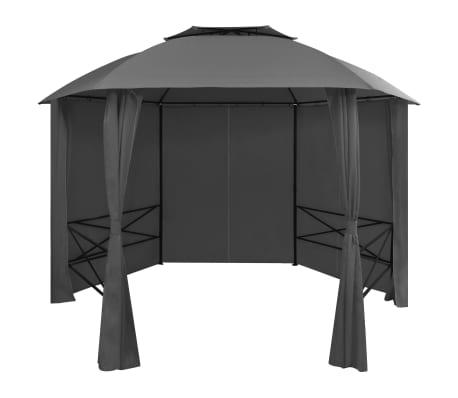vidaXL Garden Marquee Pavilion Tent with Curtains Hexagonal 11.8'x8.7'