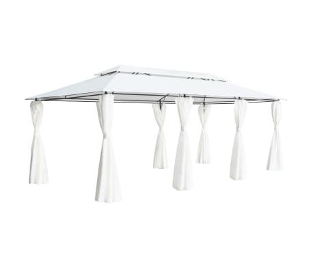 vidaXL Pavilion cu perdele, alb, 600 x 298 x 270 cm