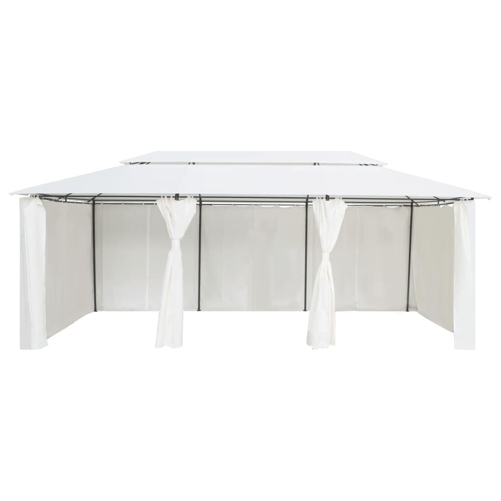 vidaXL Paviljoen met gordijnen 600x298x270 cm wit