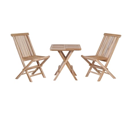 vidaXL 3 Piece Folding Bistro Set Solid Teak Wood