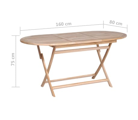 Details About VidaXL Solid Teak Wood Dining Table 63 Folding Outdoor Patio Home Desk Stand