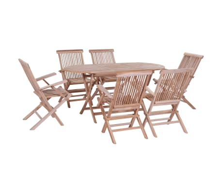 vidaXL 7 Piece Folding Outdoor Dining Set Solid Teak Wood-picture