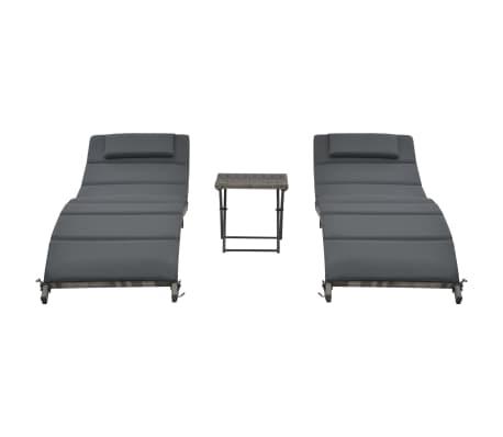 vidaXL 3-delige Loungeset inklapbaar poly rattan grijs[2/10]