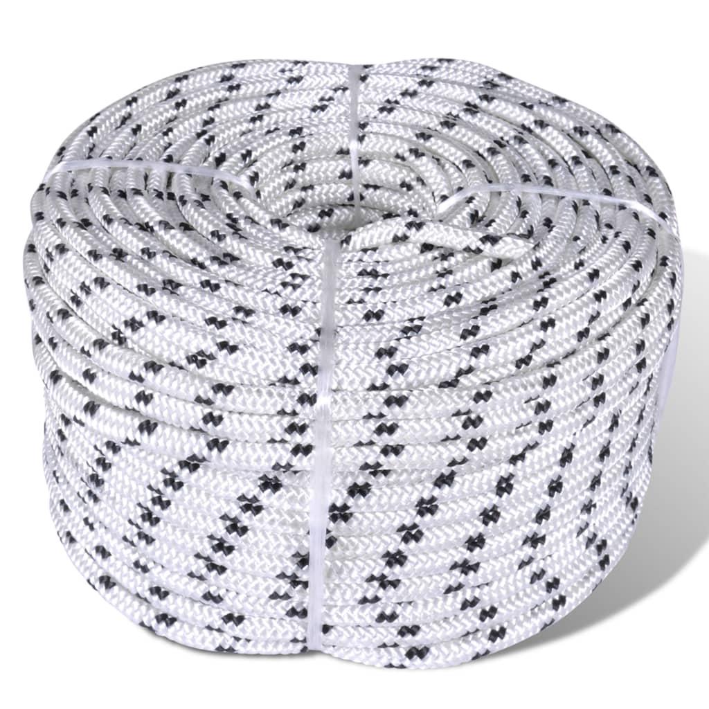 vidaXL Splétané lodní lano z polyesteru 12 mm 250 m bílé