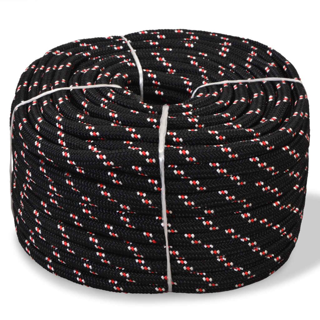 Námořní lodní lano z polypropylenu 16 mm 50 m černé