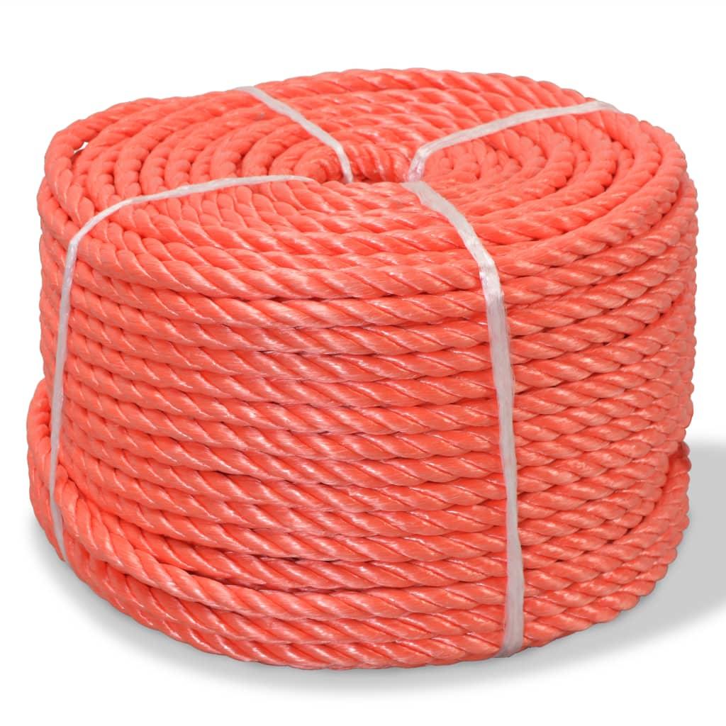 vidaXL Frânghie împletită polipropilenă, portocaliu, 500 m, 10 mm poza vidaxl.ro