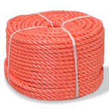 vidaXL Skręcana linka z polipropylenu, 16 mm, 100 m, pomarańczowa