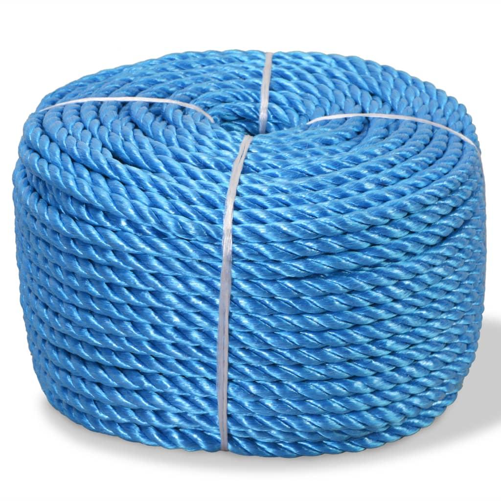 vidaXL Frânghie împletită polipropilenă, albastru, 100 m, 16 mm imagine vidaxl.ro