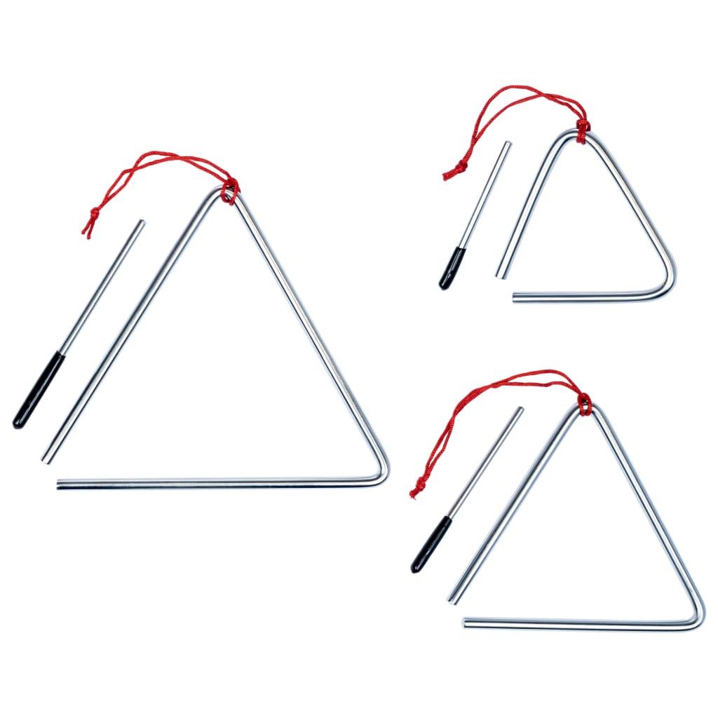 Afbeelding van vidaXL 3-delige Triangelset roestvrij staal