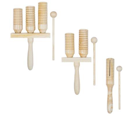 vidaXL Conjunto campanas Agogo 3 piezas de madera