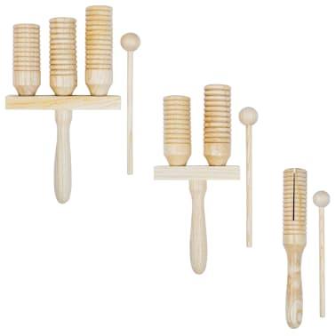 vidaXL Zestaw drewnianych dzwonków agogo, 3 szt.[1/4]