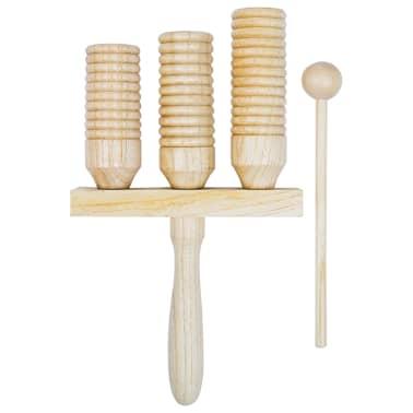 vidaXL Zestaw drewnianych dzwonków agogo, 3 szt.[2/4]