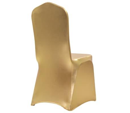 vidaXL Huse elastice pentru scaun, 6 buc., auriu[2/5]