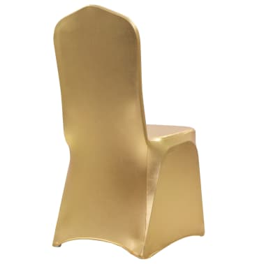 vidaXL Fundas de silla elásticas 6 unidades doradas[2/5]