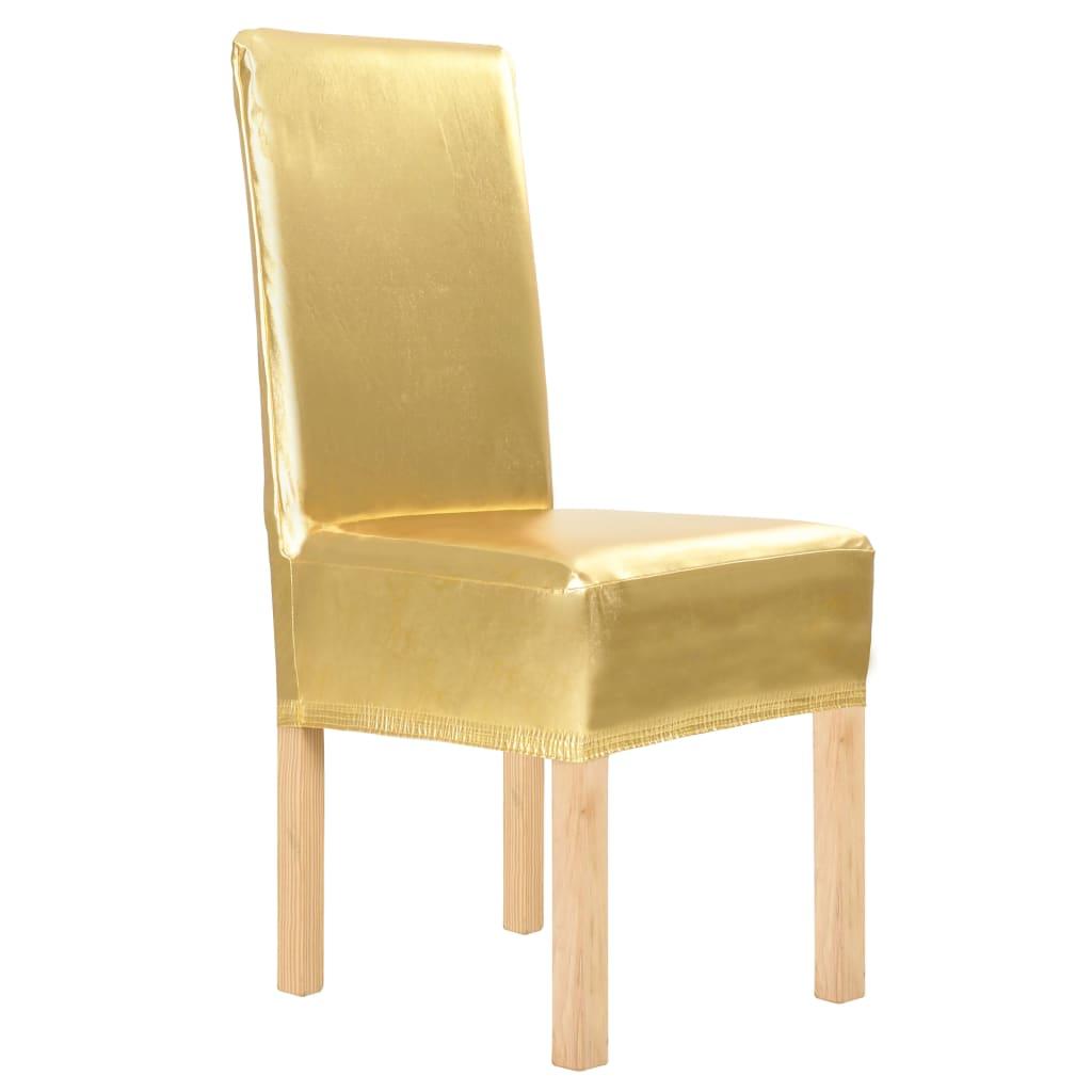 vidaXL 4 ks Hladké elastické potahy na židle zlaté