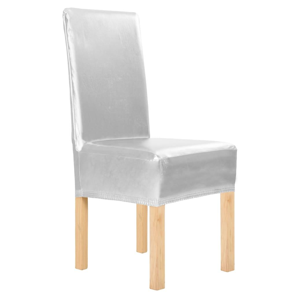 vidaXL Huse de scaun elastice drepte, 4 buc, argintiu poza vidaxl.ro