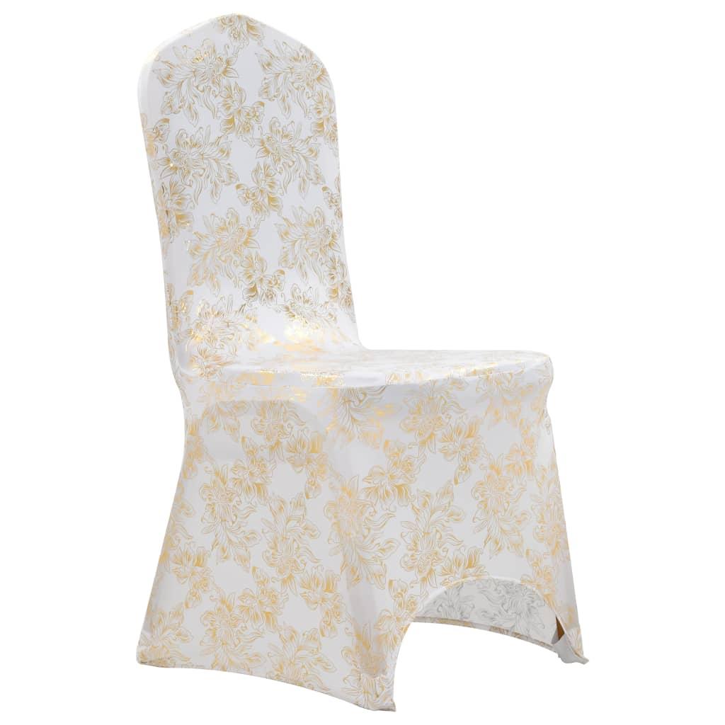 999133572 6 Stk. Stretch-Stuhlhussen Weiß mit Goldaufdruck