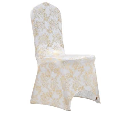 vidaXL Καλύμματα Καρέκλας Ελαστικά 6 τεμ. Λευκά με Χρυσό Τύπωμα