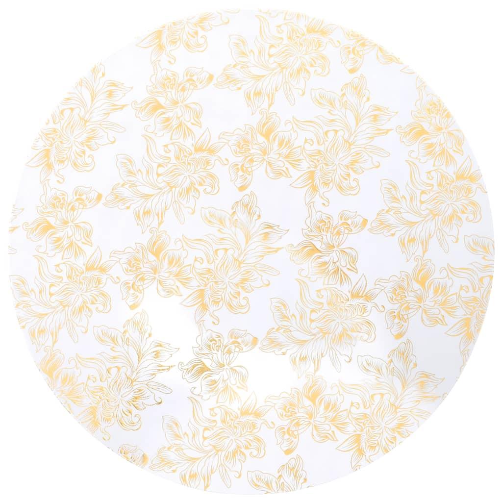 vidaXL Elastické návleky na stůl 2 ks bílé se zlatým potiskem 70 cm