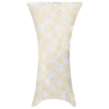 vidaXL Καλύμματα Τραπεζιού Ελαστικά 2 τεμ. Λευκά με Χρυσό Τύπωμα 80 εκ[1/4]