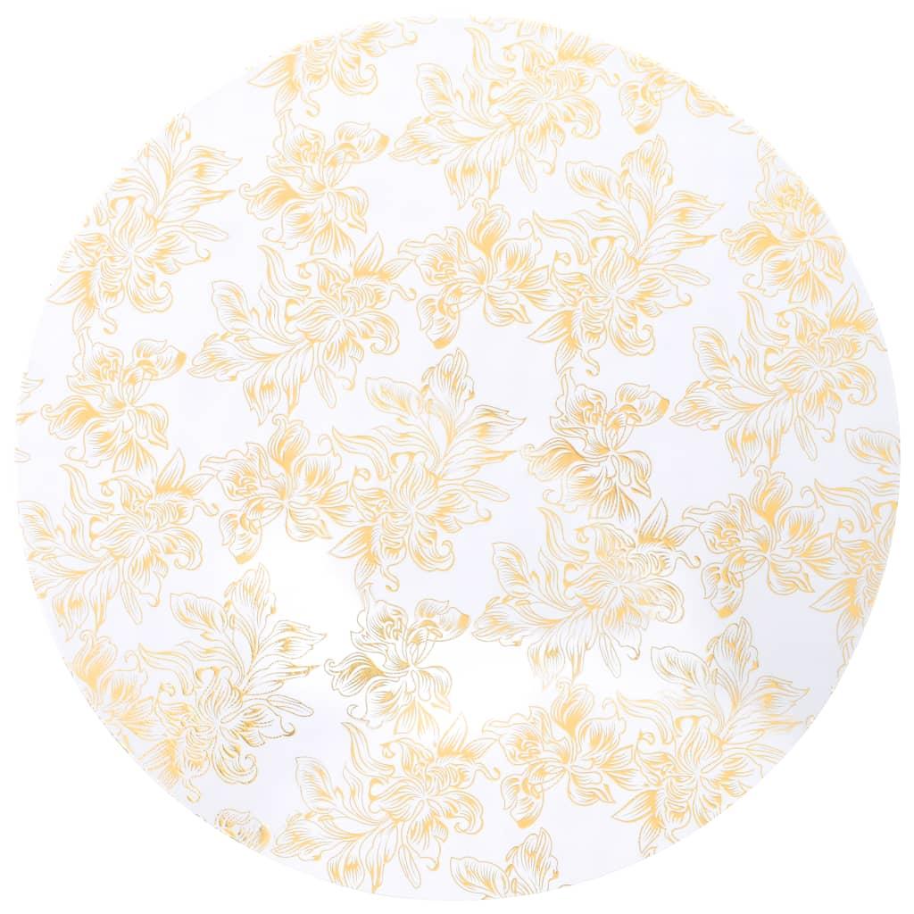vidaXL Elastické návleky na stůl 2 ks bílé se zlatým potiskem 80 cm