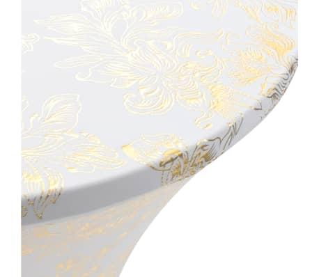 vidaXL Καλύμματα Τραπεζιού Ελαστικά 2 τεμ. Λευκά με Χρυσό Τύπωμα 80 εκ[3/4]