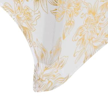 vidaXL Καλύμματα Τραπεζιού Ελαστικά 2 τεμ. Λευκά με Χρυσό Τύπωμα 80 εκ[4/4]