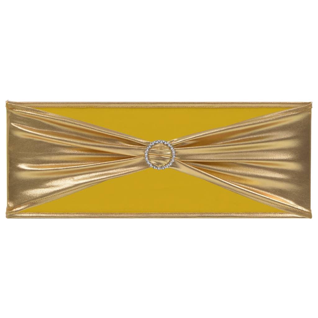 vidaXL Elastické šerpy na židli 25 ks s diamantovou přezkou zlaté