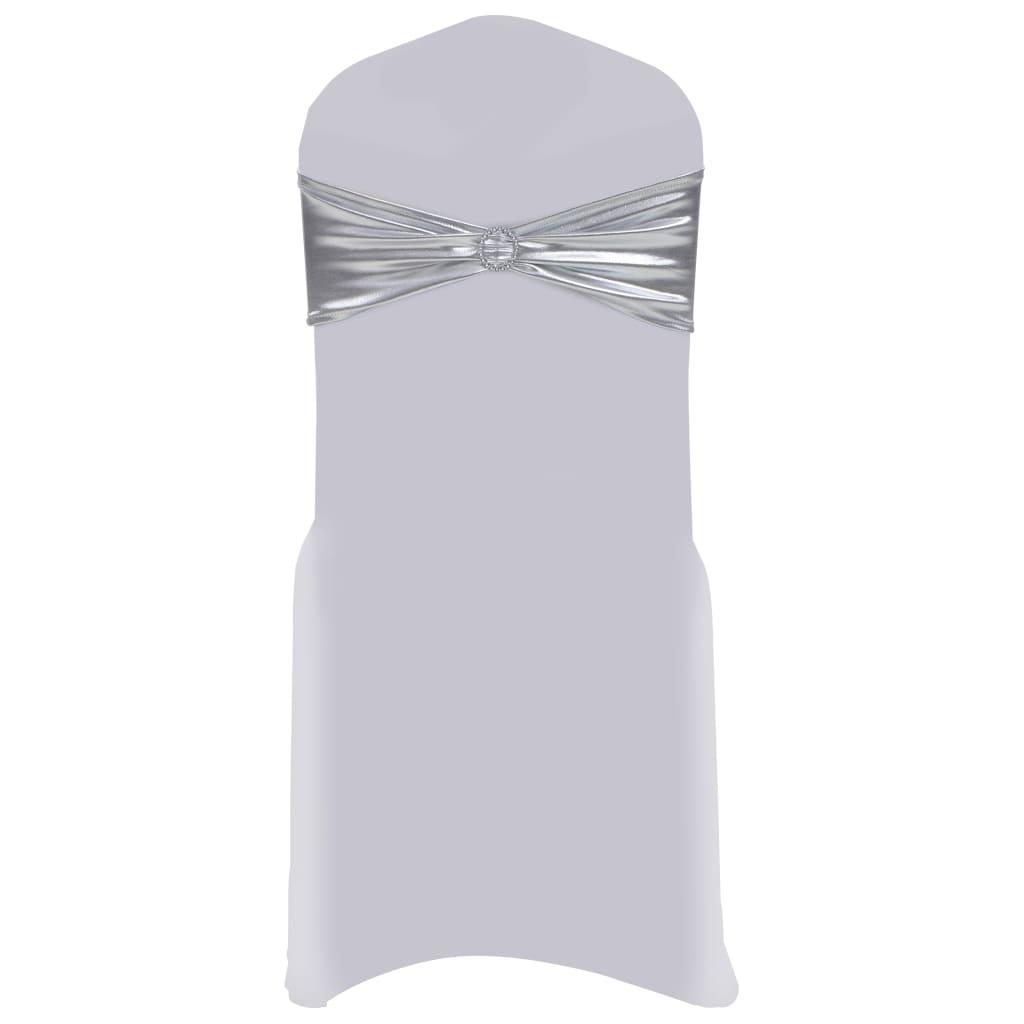 vidaXL Elastické šerpy na židli 25 ks s diamantovou přezkou stříbrné