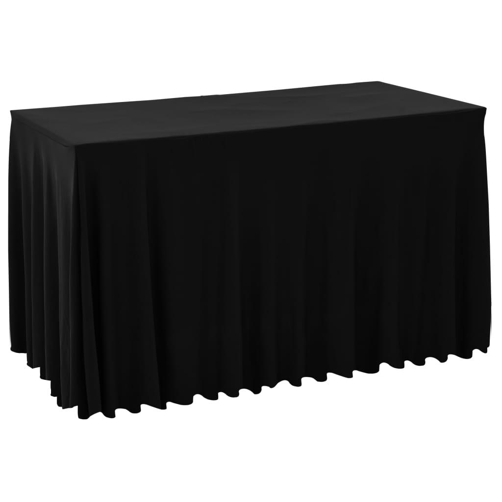 999133591 2 Stück Stretch-Tischdecken mit Rand Schwarz 183 x 76 x 74 cm