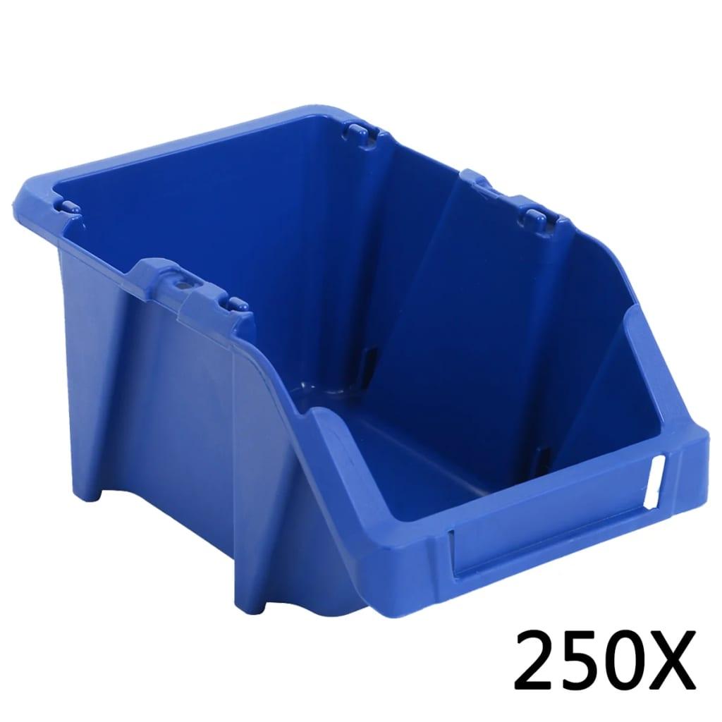 vidaXL Stohovatelné skladovací zásobníky 250 ks 103x165x76 mm modré