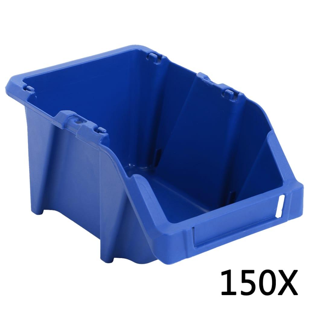 vidaXL Stohovatelné skladovací zásobníky 150 ks 125x195x90  mm modré