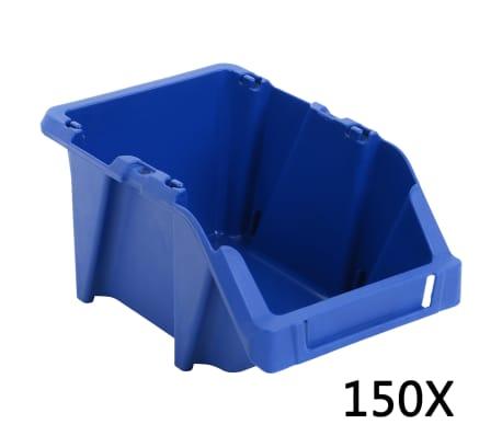 vidaXL Stohovateľné úložné boxy 150 ks, 125x195x90 mm, modré[1/8]