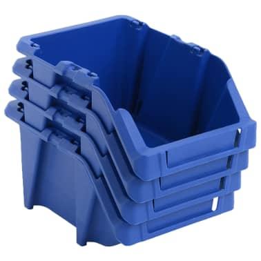 vidaXL Stohovateľné úložné boxy 150 ks, 125x195x90 mm, modré[2/8]