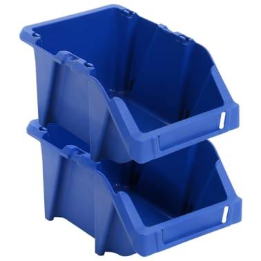 vidaXL Stohovateľné úložné boxy 150 ks, 125x195x90 mm, modré[4/8]
