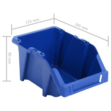 vidaXL Stohovateľné úložné boxy 150 ks, 125x195x90 mm, modré[8/8]