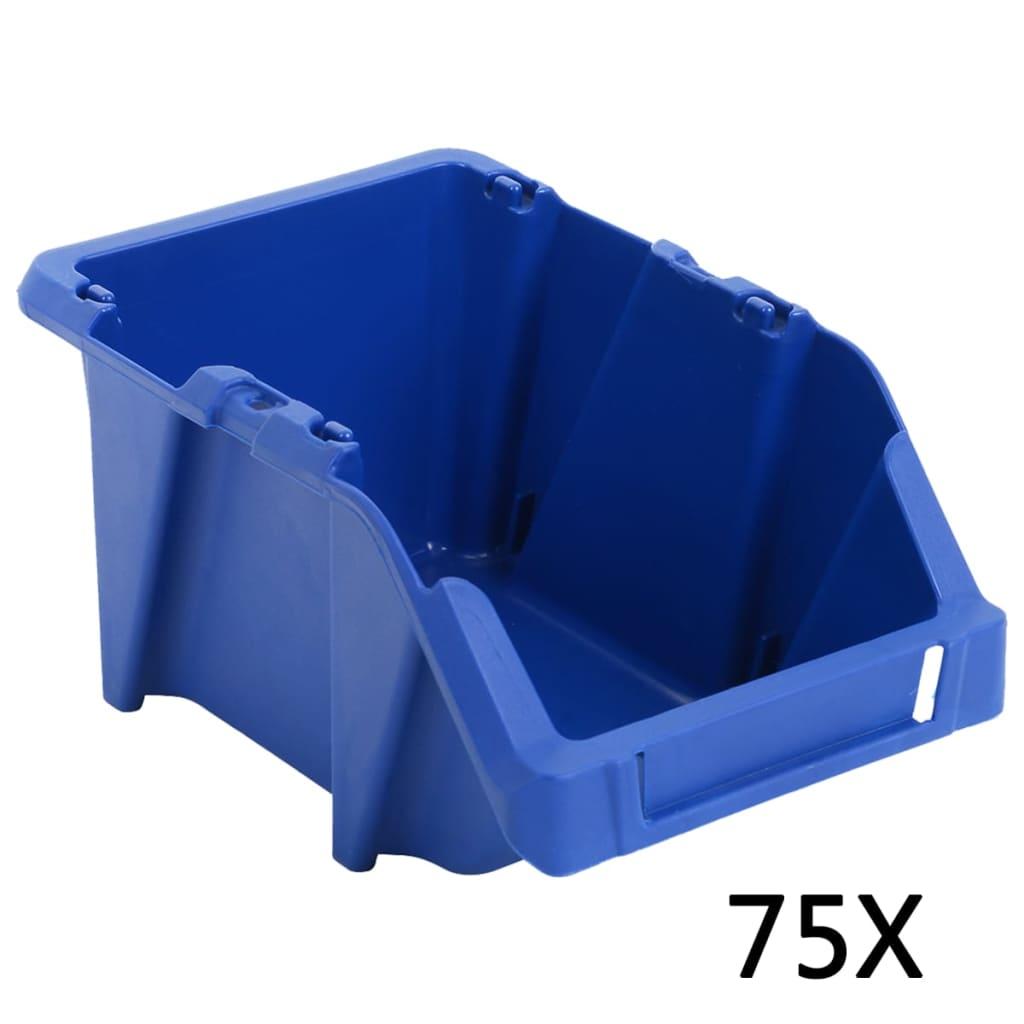 vidaXL Stohovatelné skladovací zásobníky 75 ks 153x244x123 mm modré