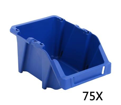 vidaXL Förvaringsbackar 75 st stapelbara 153x244x123 mm blå