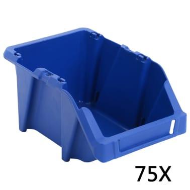 vidaXL Bac de rangement empilable 75 pcs 153 x 244 x 123 mm Bleu[1/8]