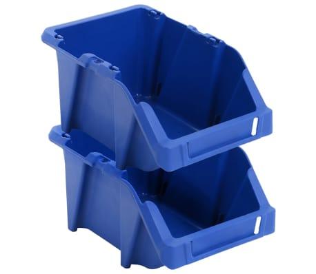 vidaXL Bac de rangement empilable 75 pcs 153 x 244 x 123 mm Bleu[4/8]